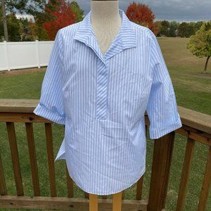 Chico's No Iron Button Tunic Shirt Blue White L